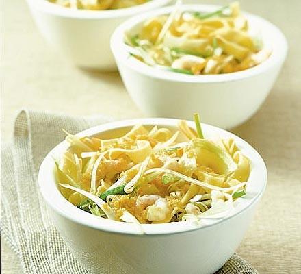 Small bowls of prawn and tagliatelle salad