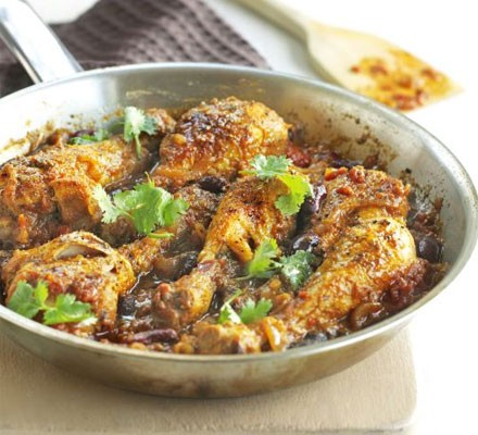 Jerk chicken curry with beans