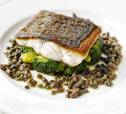 Pan Fried Sea Bass With Citrus Dressed Broccoli Recipe Bbc Good Food