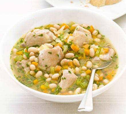 Chicken & white bean stew in bowl with spoon