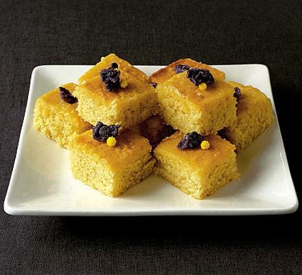 Lemon & violet drizzle cake