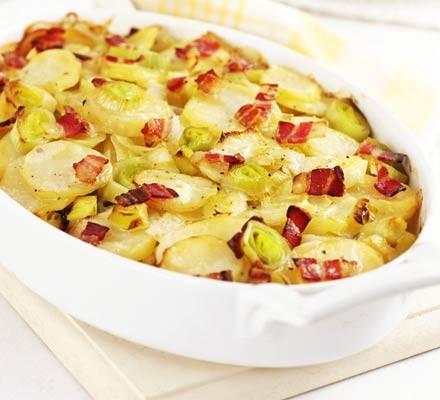 Leek, potato & bacon bake