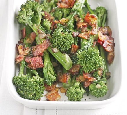 Long-stem broccoli with sautéed onions & bacon