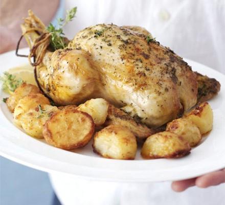 Slow-roast chicken with homemade gravy