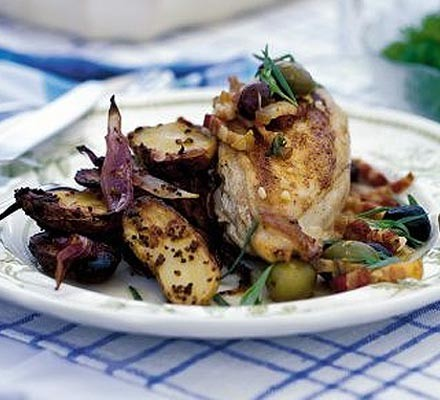 Chicken with tarragon, garlic & olives