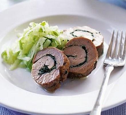 Herby garlic rolled pork with apple salad