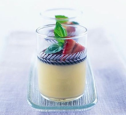 Basil & white chocolate creams with sticky balsamic strawberries