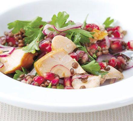 Hot-smoked salmon, lentil & pomegranate salad_image