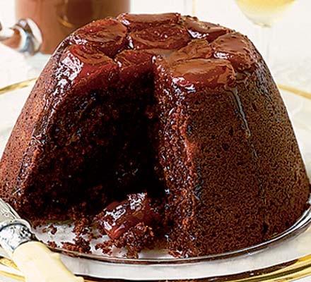 Chocolate & apricot pud with glossy chocolate sauce