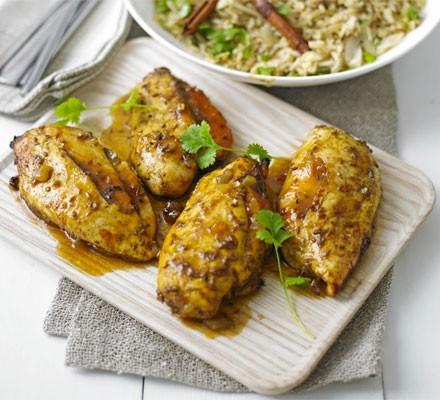 Mango chicken with spiced pilau