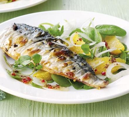 Grilled mackerel with orange, chilli & watercress salad