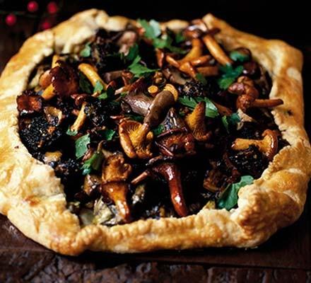 Artichoke & wild mushroom pie