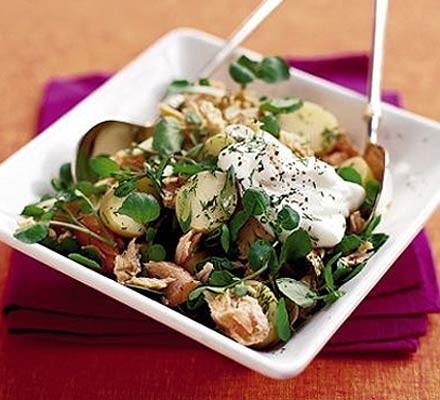 Hot-smoked salmon & potato salad