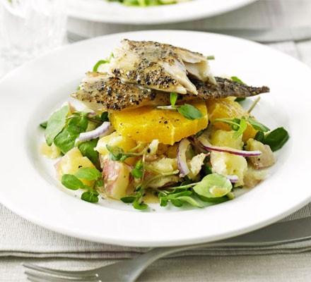 Smoked mackerel with orange, watercress & potato salad