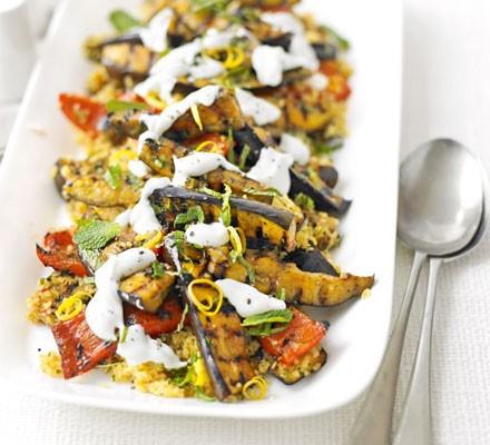 Spiced veg with lemony bulgur wheat salad