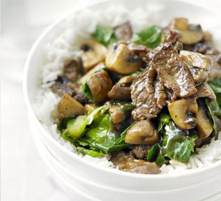Beef, mushroom & greens stir-fry
