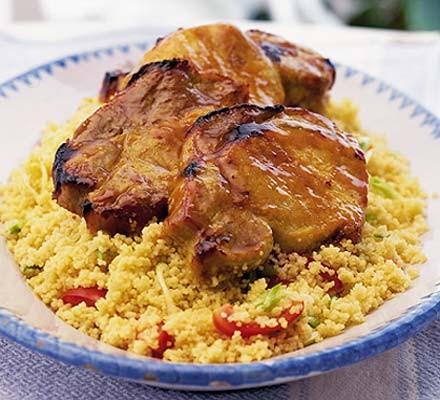 Sticky glazed pork with spring onion couscous