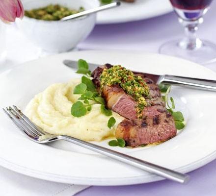 Griddled rump steak with watercress, hazelnut & red chilli pesto