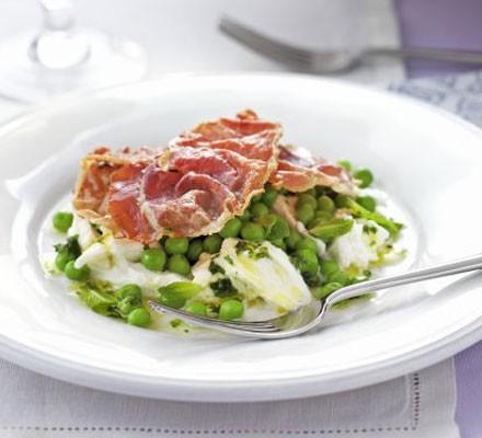 Crisp prosciutto, pea & mozzarella salad with mint vinaigrette