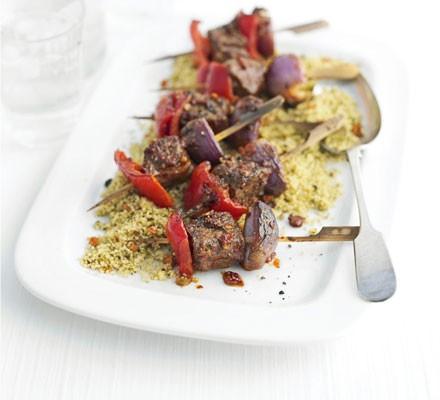 Harissa lamb & pepper kebabs