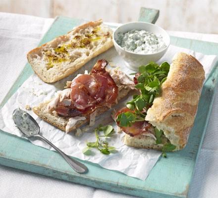 Chicken, bacon & watercress baguettes