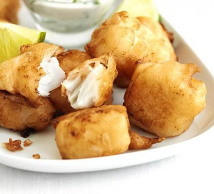 Beer-battered pollock bites