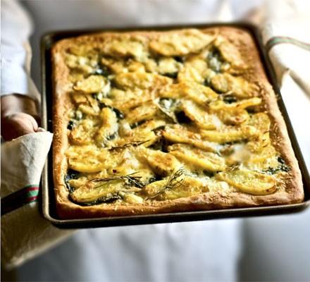 Potato, Taleggio & spinach tart