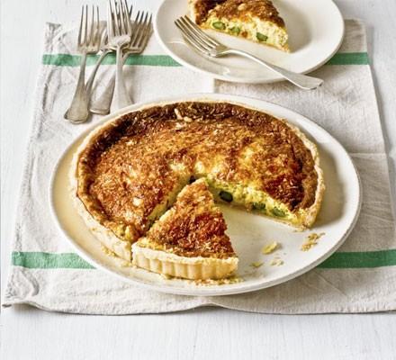 Souffléd crab & asparagus tart