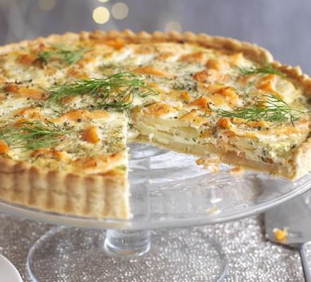 Salmon, dill & potato tart