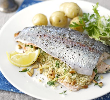 Stuffed baked trout