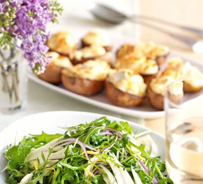 Twice-baked potatoes with goat's cheese