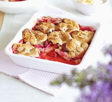 Rhubarb & strawberry cobbler with orange cream