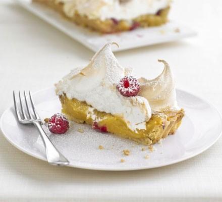 Lemon & raspberry meringue tart