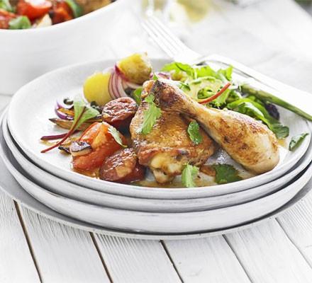 Chicken with chorizo & leeks