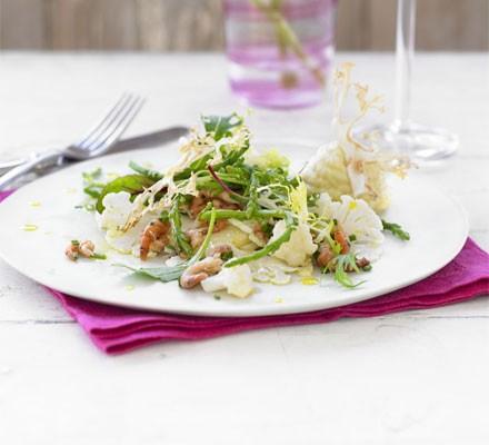 Cauliflower carpaccio with Morecambe Bay shrimps & samphire