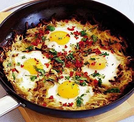 Potato cake with chilli eggs