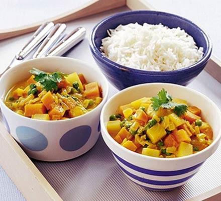 Sweet potato & pea curry