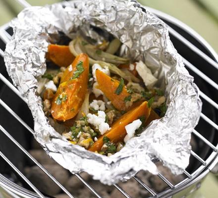 Hot dressed sweet potato, fennel & feta parcels