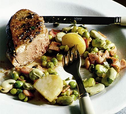 Duck with summer peas & beans