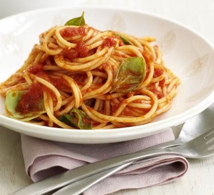 Bowl of spaghetti with tomato and basil sauce