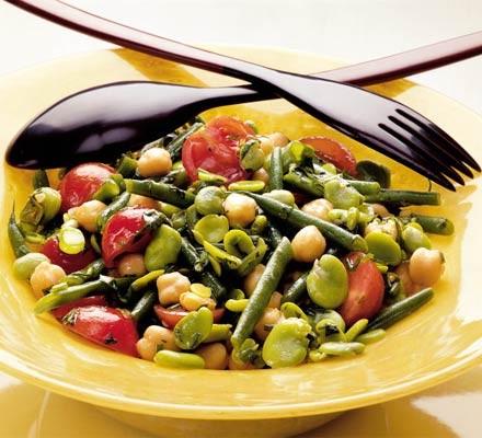Two bean, chickpea & tomato salad