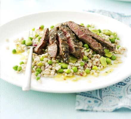Marinated lamb steaks with barley salad