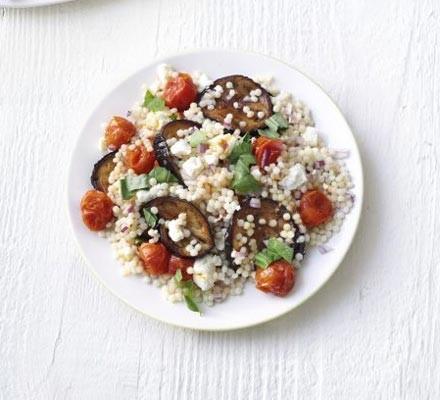 Giant couscous & aubergine salad