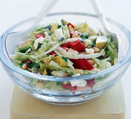 Feta, avocado & red pepper salad with honey-lime dressing