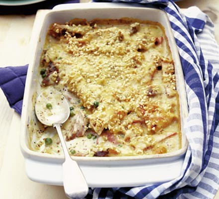 Sherried turkey & ham bake