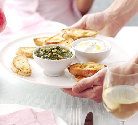 Ricotta toasts with rocket & pine nut salsa