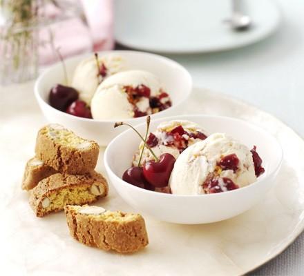 Cherry ripple & almond crunch ice cream