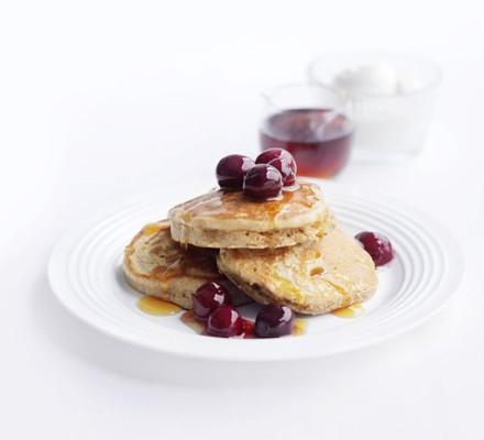 Cinnamon buckwheat pancakes with cherries