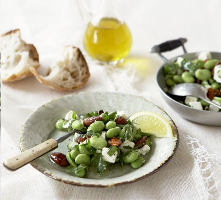 Broad beans with parsley, feta & almonds