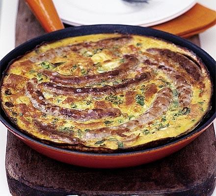Chipolata & spring onion frittata